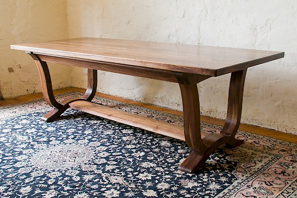 Walnut refectory style dining table